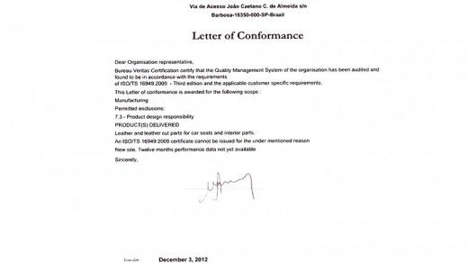 Carta Conformidade - Barbosa